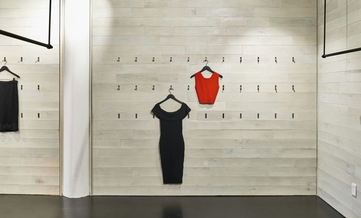 EOA  / ELMSLIE OSLER ARCHITECT,  Kendall + Kylie,  showroom, NYC, whitewashed Wood, retractable fixtures