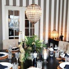 Antique brass hanging lamp made of glass prisms in dining room Amadeus / Sessak