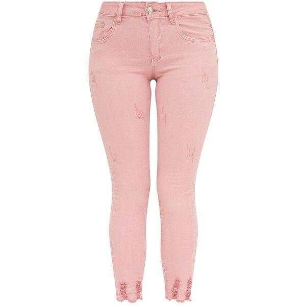 Pink Distressed Skinny Jean ($38) ❤ liked on Polyvore featuring jeans, pink distressed jeans, ripped jeans, destroyed skinny jeans, skinny leg jeans and pink skinny jeans