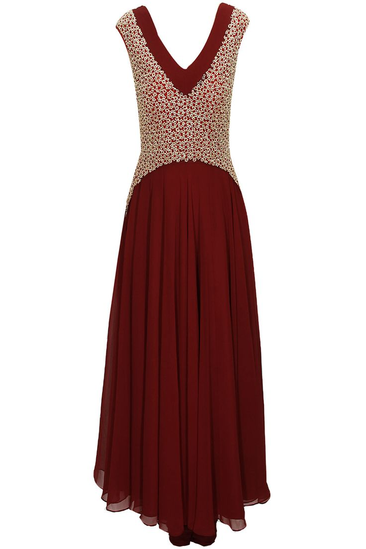 Maroon floral pitta work anarkali set with maroon dupatta available only at Pernia's Pop-Up Shop.