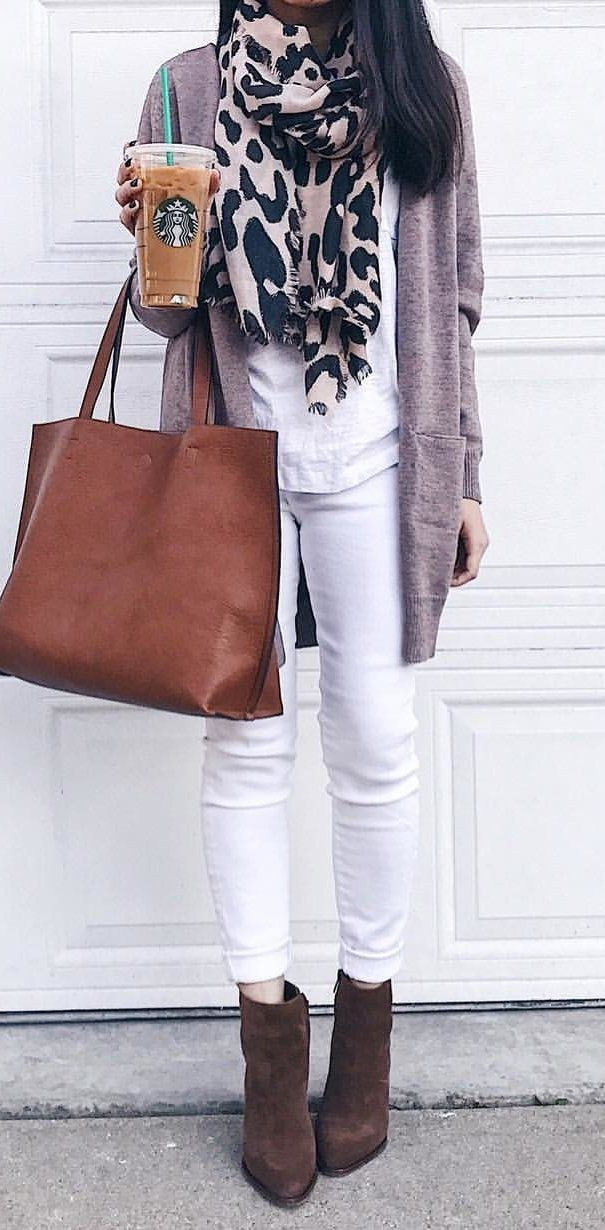 women's gray #cardigan, white #top, beige and black scarf, white jeans and brown suede #boots outfit
