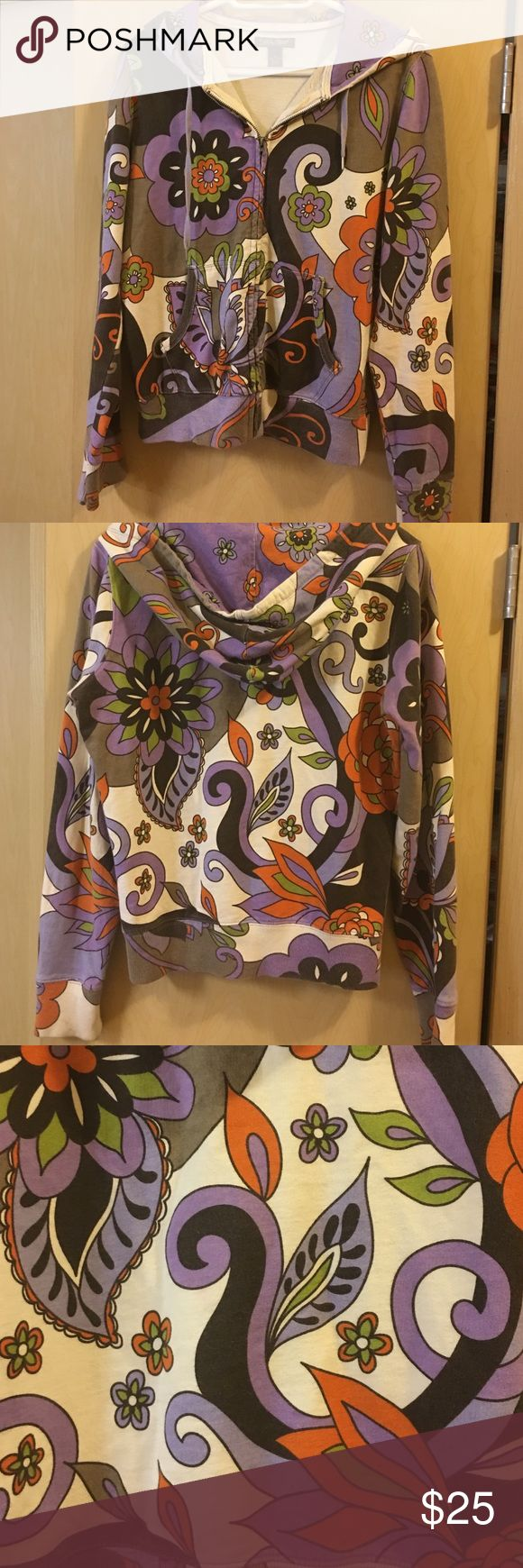 Lucky 🍀 Brand women's hooded sweatshirt Lucky 🍀 Brand women's zip up hooded sweatshirt purple, green , orange, black  and  cream colored Lucky Brand Jackets & Coats