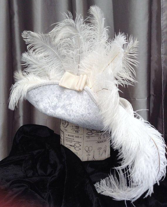 Steampunk White velvet pirate hat