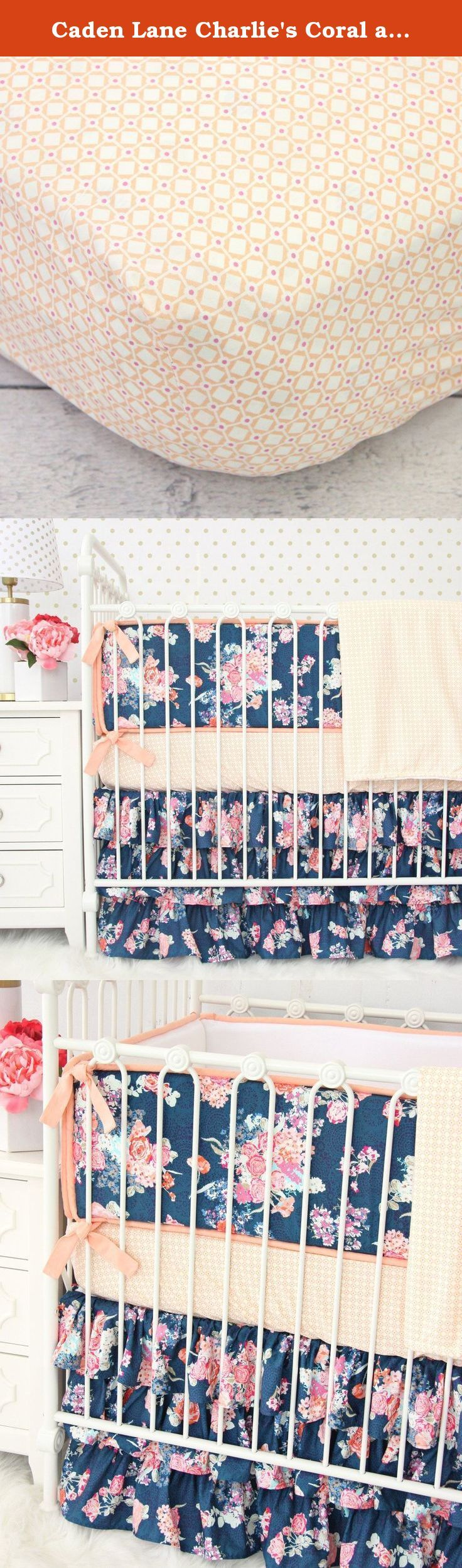 """Caden Lane Charlie's Coral and Floral 2 Piece Crib Bedding Set. The Caden Lane Charlie's Coral and Navy 2 Piece Crib Bedding Set is one of Caden Lanes most unique bedding set pieces. The stark navy blue and floral design of the crib skirt are a beautiful combination with the more simply patterned peachy-colored bed spread. Features: 2pc set includes sheet and skirt Fitted crib sheet fits standard crib mattresses 28""""x52"""" Crib skirt measures 17"""" in length 100% cotton If you are interested…"""