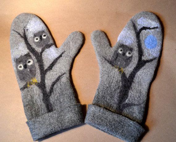 Mittens Owls In Winter, winter, bird, handmade, felted mittens, felt, wool, accessories