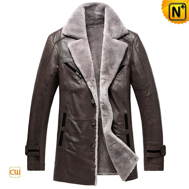 CWMALLS® Custom Made Mens Shearling Coats CW878249 - Custom made shearling leather coats for men, it offers the comfort and warmth with the supple calfskin leather and cozy shearling lining, classic design with beautiful notched shearling collar, sturdy sewing and stitching for durability, and you can have this shearling leather coat (Shearling пальто, abrigo de piel de oveja, manteau de shearling)customized according to your actual size for a loose fit, slim fit or perfect fit.