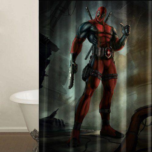 Deadpool marvel shower curtain machine washable fabric with shower curtain hooks included - Marvel superhero bathroom accessories ...