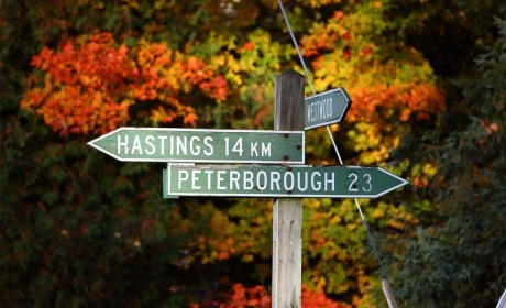 Beautiful Ontario Road Trip Routes. County of Peterborough, Asphodel-Norwood Township Road Sign, Peterborough & Hastings - Photo by: Jesse Goodrice