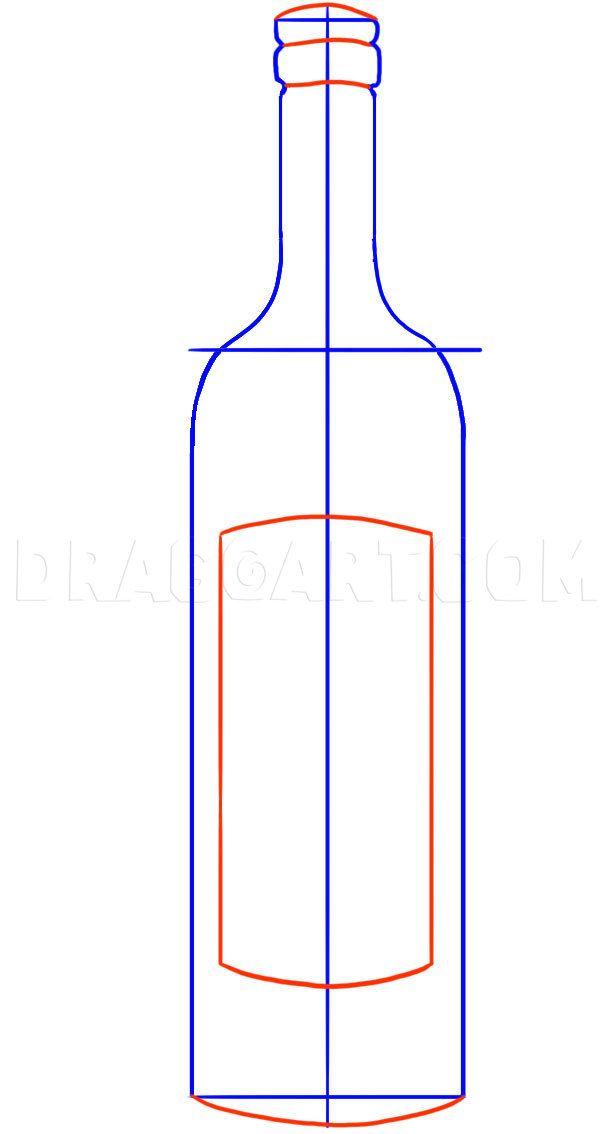 Wine Bottle Drawing Easy : bottle, drawing, Bottle,, Step,, Drawing, Guide,, Dragoart.com, Bottle, Drawing,, Painting