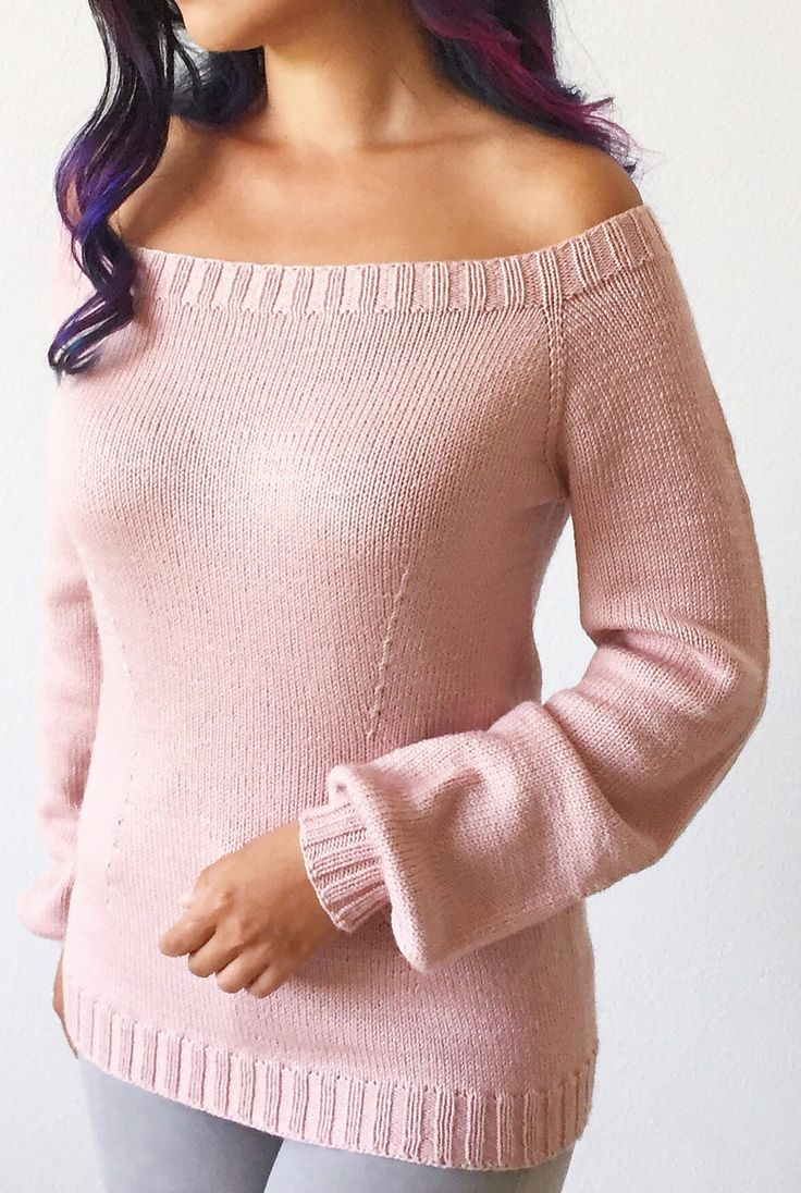 "Free Knitting Pattern for Forever April Sweater - Fitted long sleeved pullover with off the shoulder neckline shaped with short rows. Sizes S (M,L) – bust 32.5""/82cm (36""/92cm, 40""/101cm) Designed by Life Is Cozy"