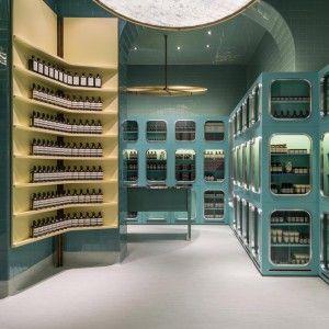 Dimorestudio+designs+glossy+teal+interior+for+Aesop+Magenta+store
