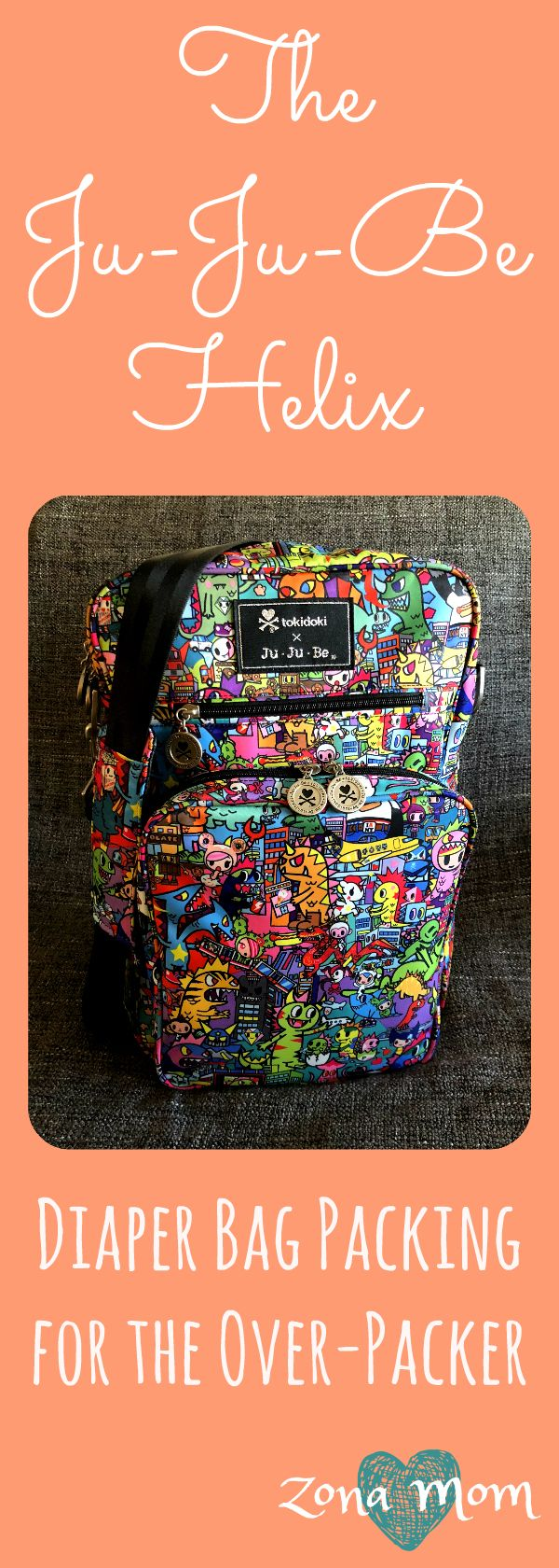 Ju-Ju-Be Helix Diaper Bag, packed by an organized over-packer.  #diaperbagorganization #daddiaperbags #jujubepacking