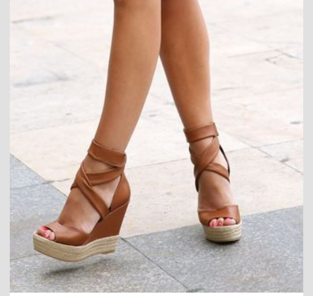 Perfect brown espadrille wedge sandals
