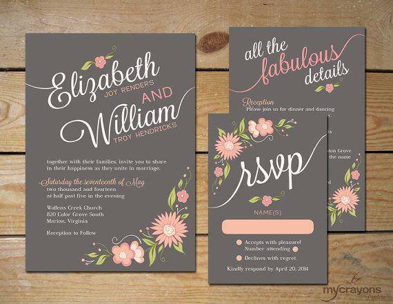Romantic Floral Wedding Invitation Set // DIY Printable Wedding Invite // Pewter Gray, Grey, Peach and Blush Pink on Etsy, $40.00