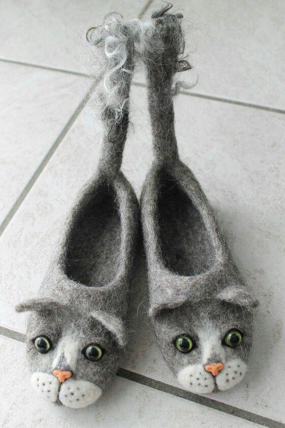 Filzschuhe Kätzchen - Cat slippers
