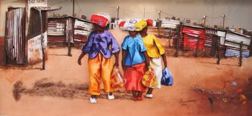 artist Lazarus Ramontseng captures township moments with wonderful colour and emotion. To see more Lazarus's work check out Fine Art Portfolio