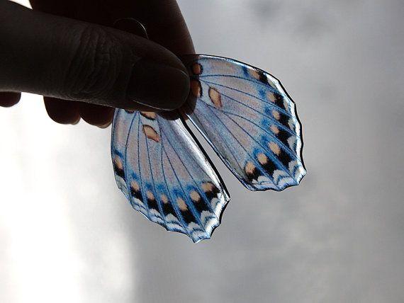Farfalla blu ala orecchini • entomologia svolazzante orecchini • gioielli • romantico regalo per fidanzata moglie • inverno freddo aqua marina