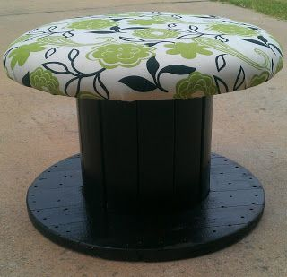 Upcycling to the rescue! Turn that large wooden spool into an adorable chair. You'll need foam padding, fabric, a staple gun like the T50X TacMate, paint, a paint roller, sand paper. It's cute, easy and you could get many of the things for cheap. www.arrowfastener.com
