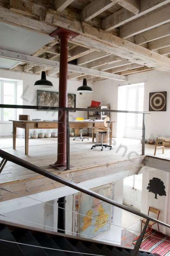 Warehouse Conversion | Loft Living | Vintage Industrial Furniture | Pendant Lighting | Stairs | Maps | Warehouse Home Design Magazine