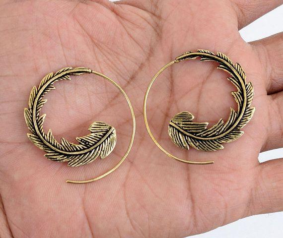 Tribal Brass Earrings Hoop Earrings Tribal by jewellryhubs on Etsy