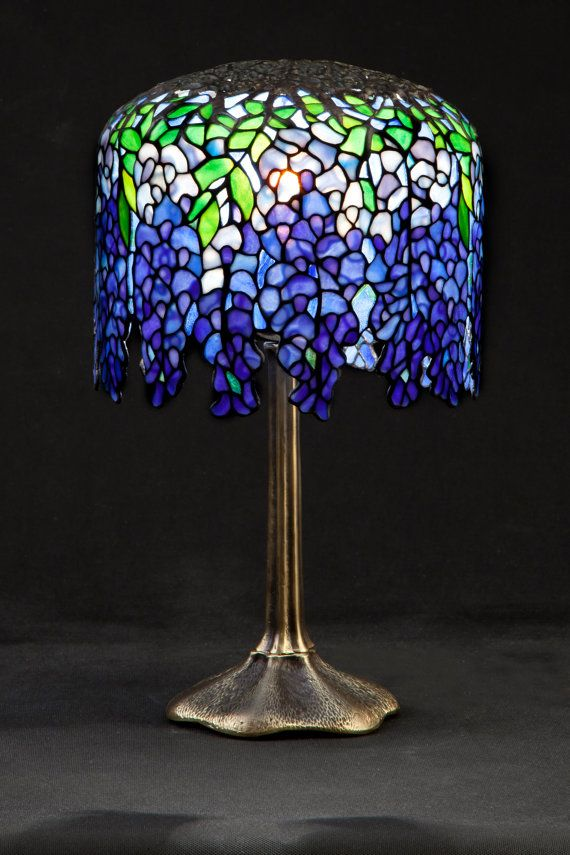 Tiffany stained glass lamp. Small Wisteria. by WPworkshop on Etsy