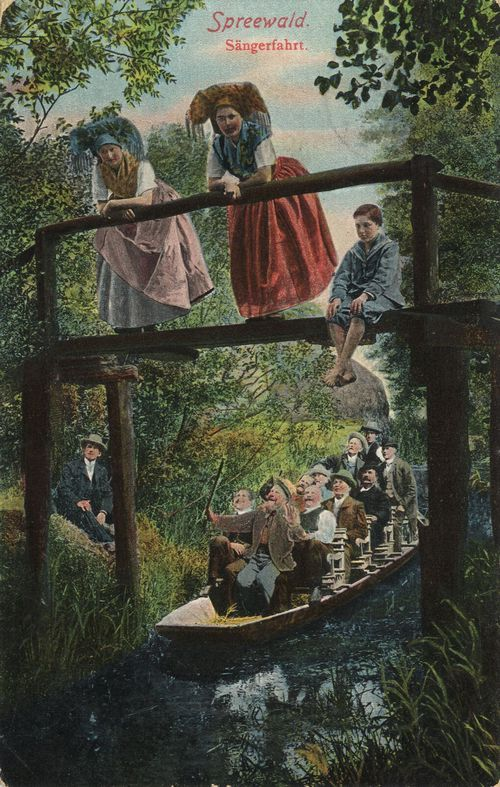 'Sängerfahrt', Spreewald, Deutschland, Postkarte, ca. 1900