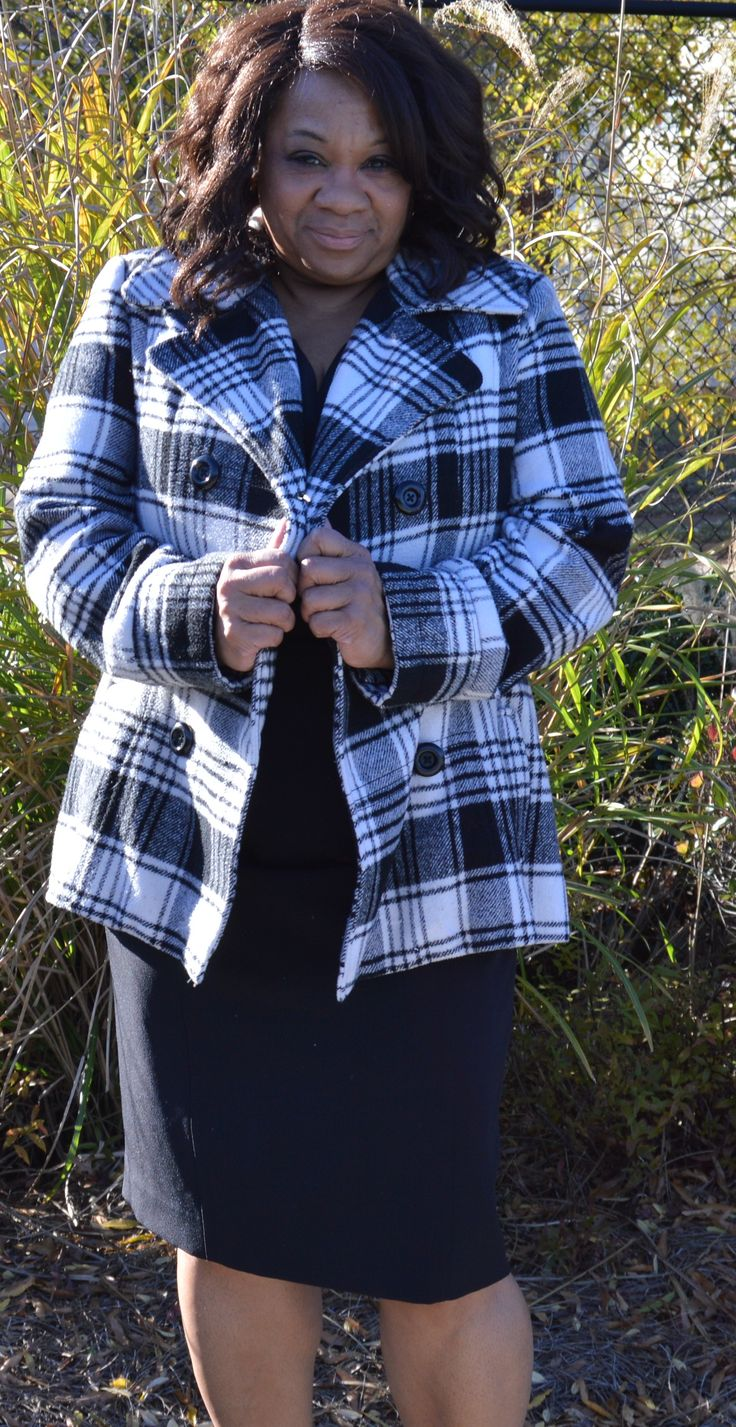 George Black and White Plaid #Peacoat Size 16-18 of XL #Plussize