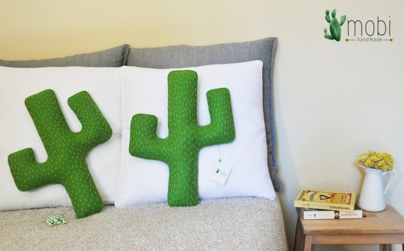 Handmade Cactus Pillow   Decorative Stuffed Cactus Cushion by MobiHandmadeShop