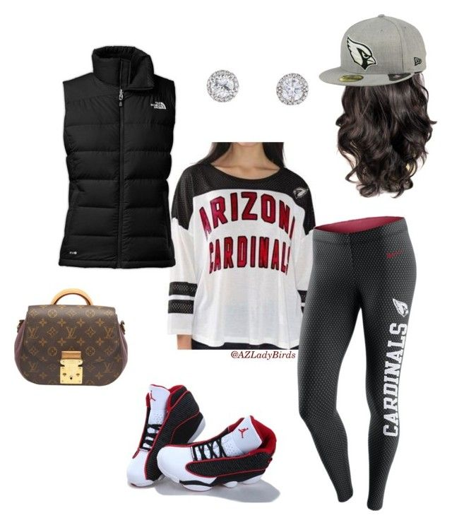 """Arizona Cardinals Gear"" by arizonaladybirds on Polyvore featuring The North Face, NIKE, New Era, Louis Vuitton, AZLadyBirds, BirdGang and NFLFanStyle"