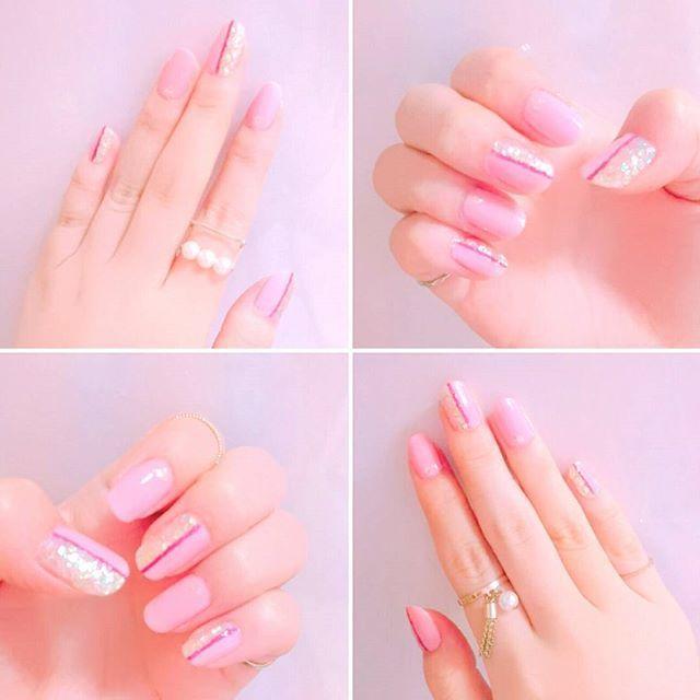 シェラックネイル終わっちゃったからセルフネイル~💕 人差し指と薬指にストーン置いたけどしっくりこなかったからホログラムに変更💫  写真じゃあんまり見えない😅  #セルフネイル #ネイル #ピンクネイル #ピンク #ラメ #ホログラム #homei #volume #gel #color #やっぱ #ピンク #は #かわいい