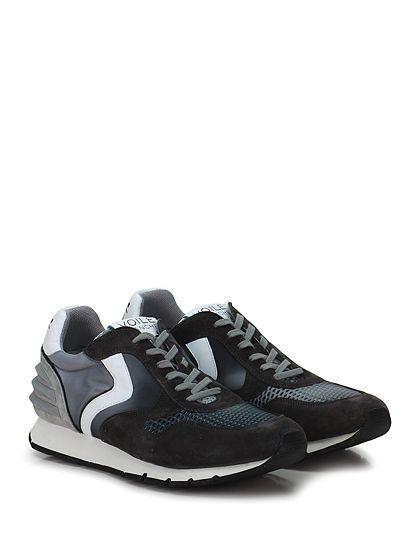Voile Blanche - Sneakers - Uomo - Sneaker in camoscio e tessuto tecnico con retina con inserto in gomma su tallone. Suola in gomma, tacco 25, platform 15 con battuta 10. - ANTRACITE\G