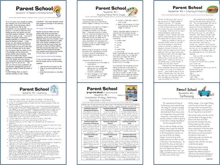Parent newsletters explaining reading strategies!