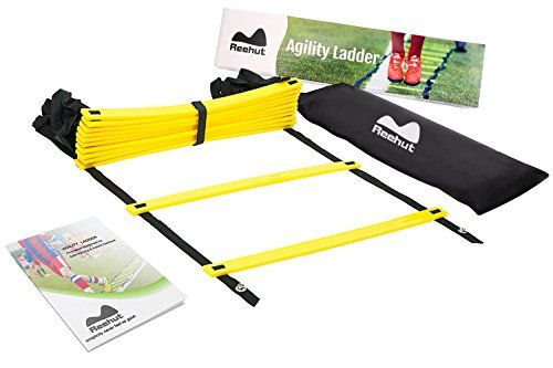 Reehut Durable Agility Ladder W/ Bonus Carry Bag – Speed Training Equipment For High Intensity Footwork – Great for Soccer Workout, Football Drills, Basketball And More – yellow, 12 Rungs