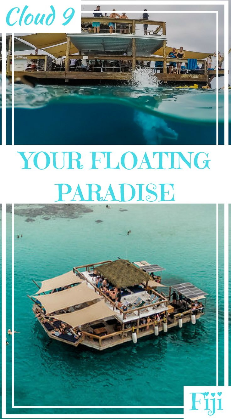 Cloud 9 Fiji – Your Floating Paradise Guide. Cloud 9 is a floating restaurant of dreams just off the coast of Fiji, which not only serves pizza dishes but even provides cocktails for your time aboard. Cloud Nine in Fiji is a truly one-of-a-kind two-level floating pizzeria and bar, Click to read more #Fiji #AdventureTravel #Bar #Travel #Cloud9