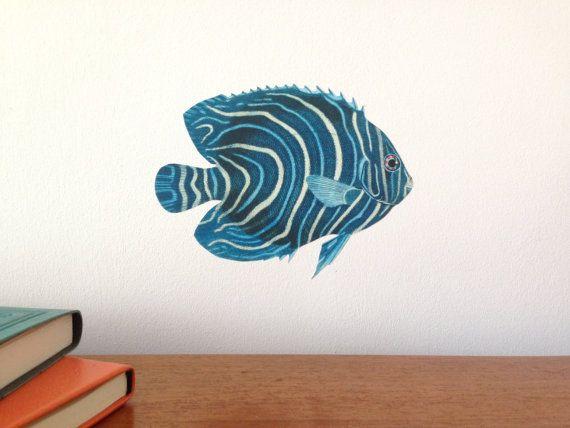 Blue tropical fish wall sticker blue tropical by ChameleonWallArt
