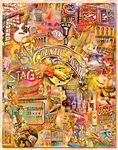 Nashville Music City an Artistic Collage by Artisticcollage, $95.00