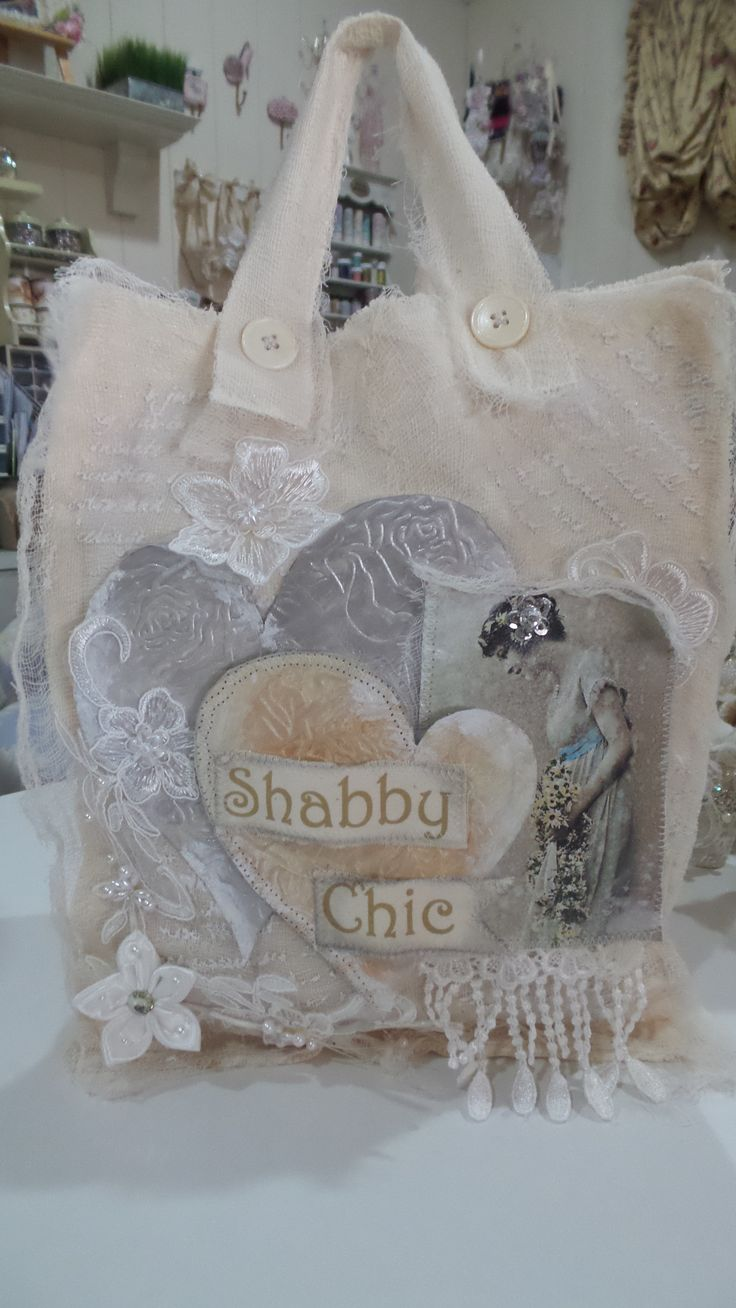 Handmade shabby chic muslin fabric tote bag created by msgardengrove1 belle - Style shabby chic recup ...