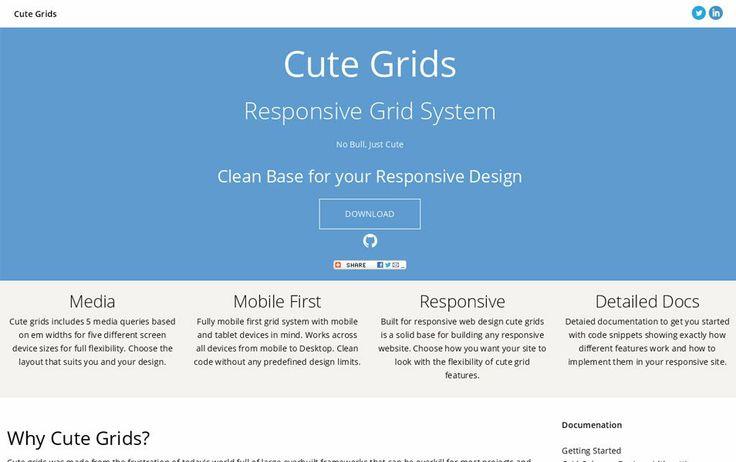 Cute Grids: Responsive Grid System, #Code, #CSS, #CSS3, #Grid, #HTML, #HTML5, #Layout, #Responsive, #Web #Design, #Development
