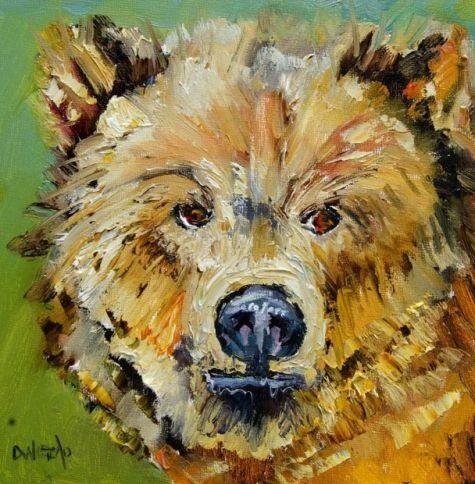 ARTOUTWEST DIANE WHITEHEAD FINE ART OIL PAINTING LITTLE BEAR, painting by artist Diane Whitehead