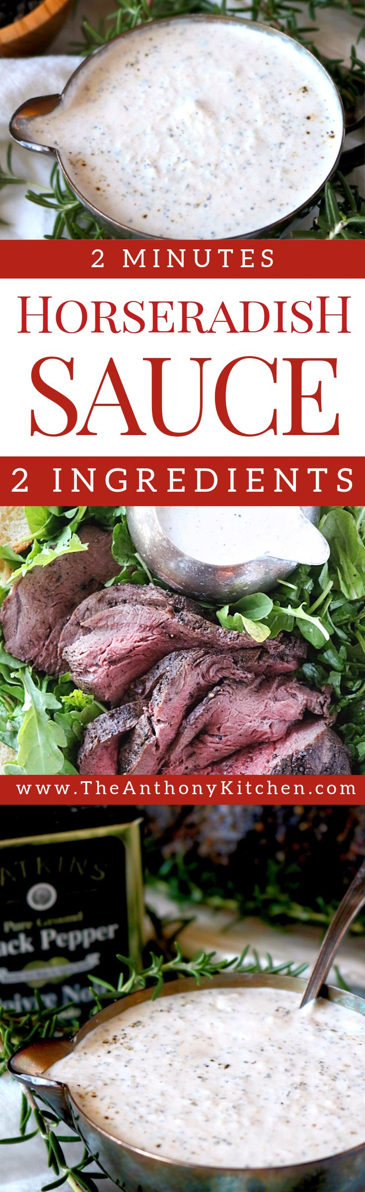 Horseradish Sauce | Steak Side | A simple recipe for creamy, homemade horseradish sauce featuring store-bought, prepared horseradish and sour cream | #steaksauce #horseradish