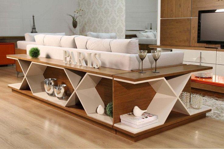 sofá table madeira em L #sala #living #aparador