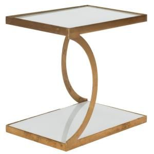 Safavieh Sullivan Gold and White Glass Top End Table - FOX2526B - The Home Depot