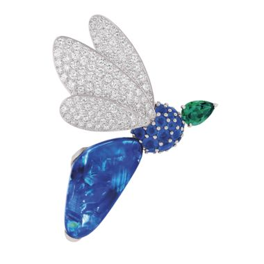 Chaumet platinum Attrape-moi... si tu m'aimes brooch  With diamonds, hauyne, emerald and blue opal, price on request