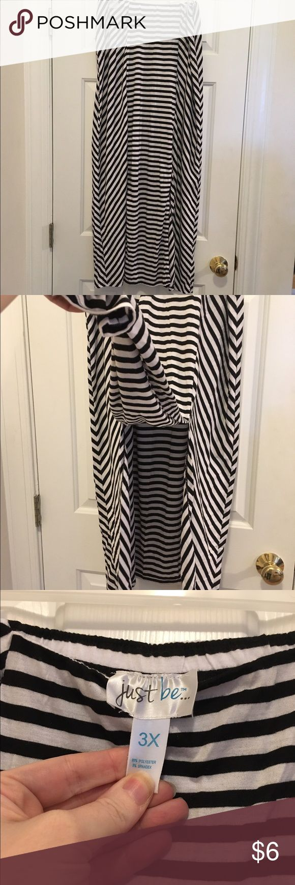 Cute maxi skirt with front slits Cute plus size black and white striped skirt with 2 slits in the front, good condition and gently used. just be Skirts Maxi