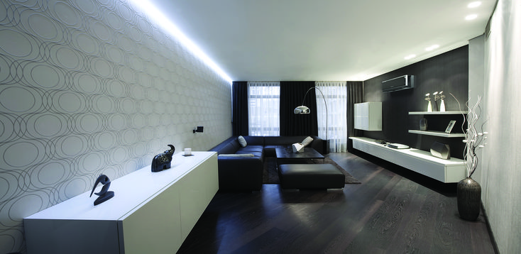 Moody, luxurious living space featuring Mitsubishi Electric Designer Series Heat Pump