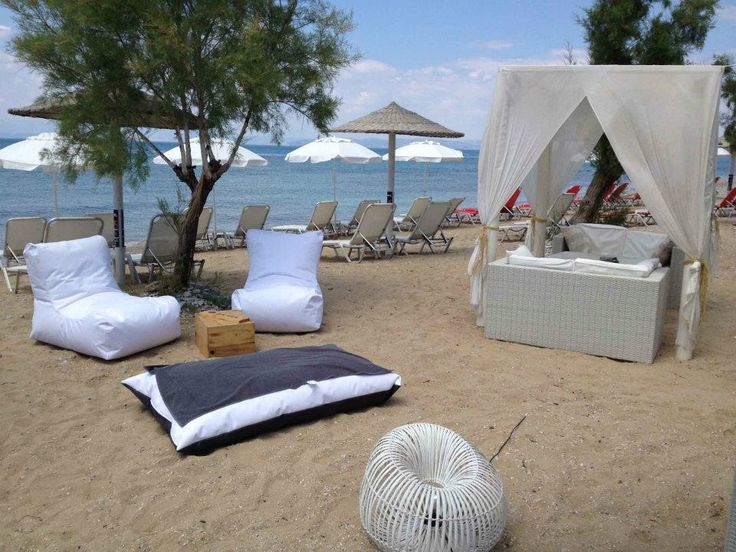 poofomania#Sunrise Coctail Bar# Αγκίστρι#bean bag outdoor#beach#