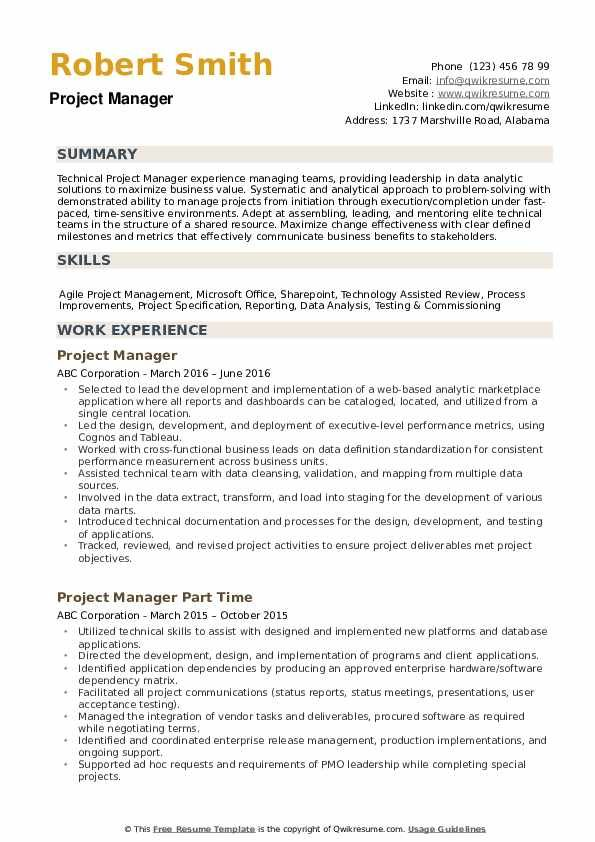 Project Manager Resume Samples Qwikresume Project Manager Resume Manager Resume Resume Skills