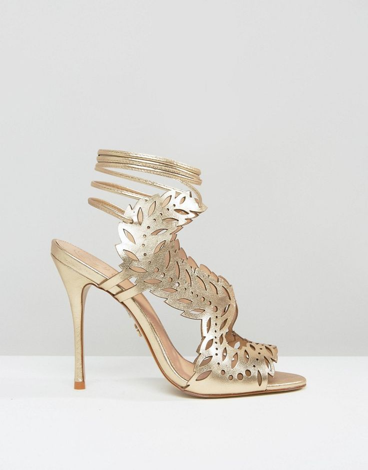 KG By Kurt Geiger Horatio Gold Laser Cut Ghillie Heeled Sandals