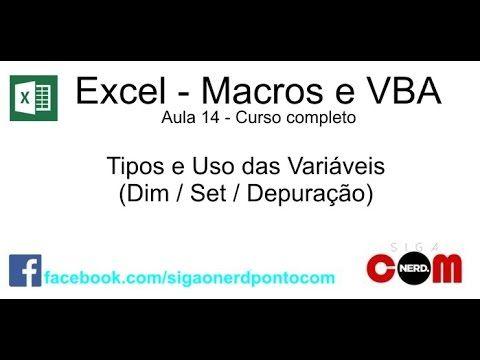 #14 - Macros e VBA - Excel - Tipos de Variáveis #14 - Macros e VBA - Excel - Tipos de Variáveis Na décima quarta aula explicarei mais alguns conceitos importantes para se trabalhar com variáveis. Aprenderemos a definir variáveis manipulá-las e exibi-las em tempo de execução. Tópicos abordados na aula: - Utilizando variáveis - Dimensionando variáveis (DIM) Tipos Integer / Long / Worksheet / Boolean - Atribuindo variáveis com o comando SET - Operações matemáticas com variáveis - Exibir…