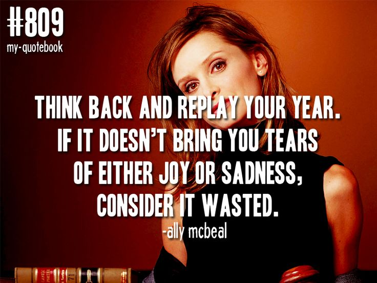 """""""Think back and replay your year. If it doesn't bring you tears of either joy or sadness, consider it wasted."""" -Ally McBeal"""
